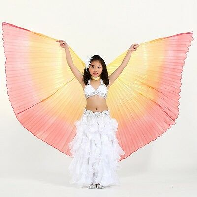 Mädchen Kinder Bauchtanz Kostüm Isis Flügel (mit 2 Stöcken) 4 Farben