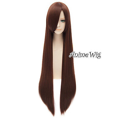 US 100CM Halloween Anime Red Brown Hair Party Bangs Long Lady Cosplay - Red Long Wig Halloween