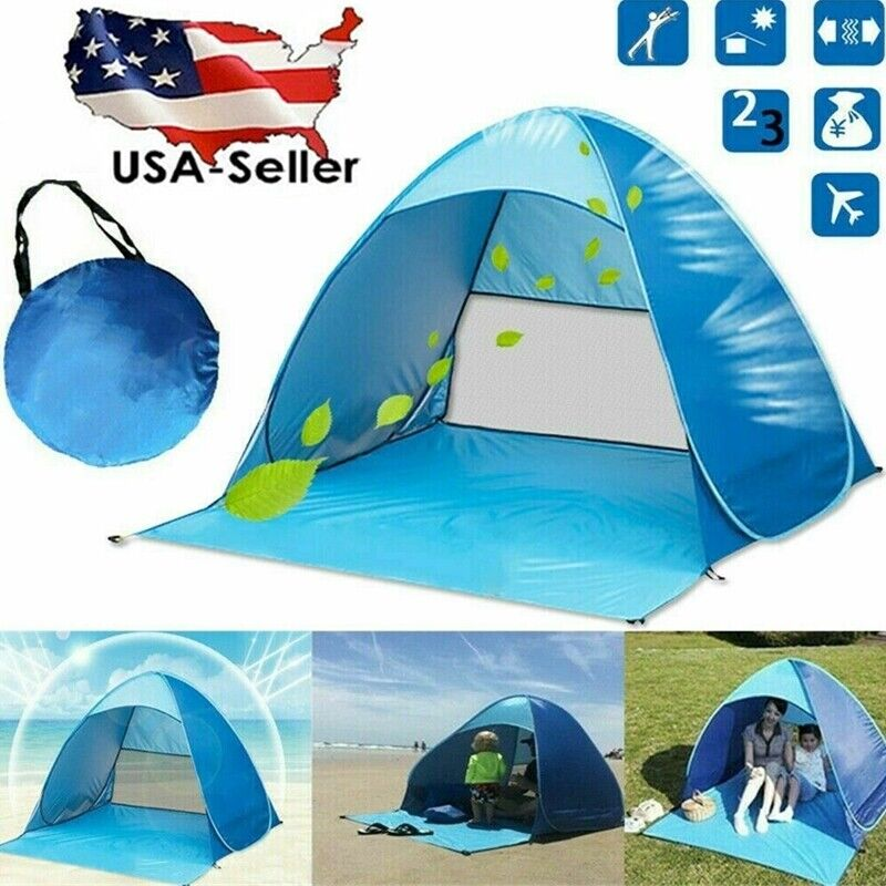 Pop Up Beach Tent Portable Sun Shade Shelter Outdoor Camping Fishing Canopy Blue