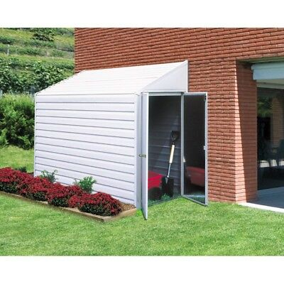 Outdoor Storage Shed Lockable Door Yard Saver 4 x 7 ft Metal White Finish New