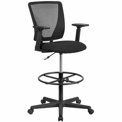 Flash Furniture Ergonomic Mid Back Mesh Swivel Drafting Stool In Black