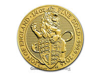 Uncirculated 2016 1/4oz Gold Queens Beast Lion coin