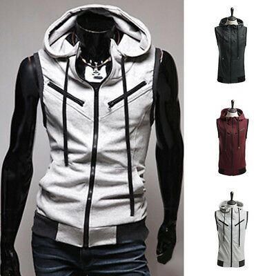 Men's Hooded Sleeveless Zipper Jacket Vest Waistcoat Tops Hoodies Coat Plus Size