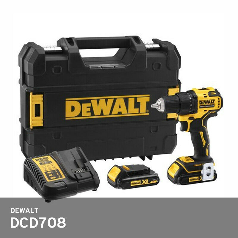 DeWalt DCD708 18V/20V Drill 2x5.0Ah 65Nm Brushless 160mm LED