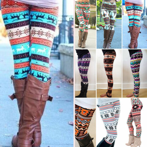 USA Stock Women Stretchy Print Leggings Skinny Leggings Pencil Pants Trousers