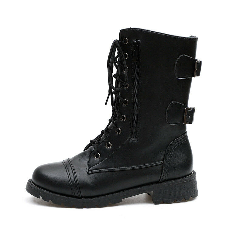 Womens Combat Boots Lace Buckle Booties Casual