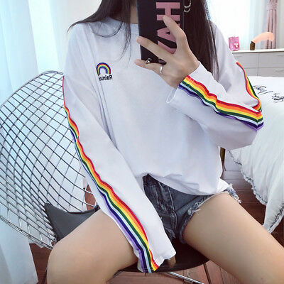 Girl ulzzang Cute Rainbow Stripe Long Sleeve Student Oversized T-shirt Crop Top ()