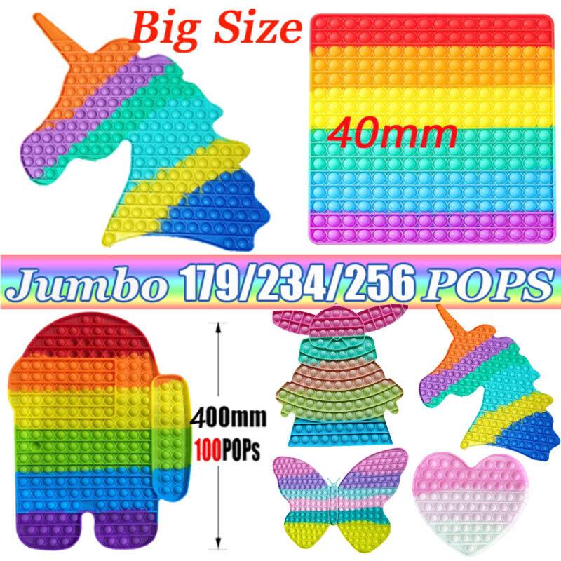 Big Size Jumbo Rainbow Push Bubble Silicone Sensory Fidget Toy Stress Relief Toy