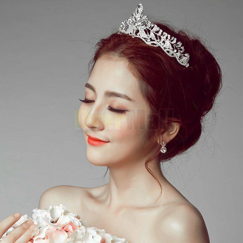 Wedding Bridal Princess Crystal Prom Hair Tiara Crown Veil Headband