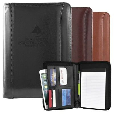 Business Leather Padfolio Portfolio Zipper Notebook Office Organizer 3 Colors