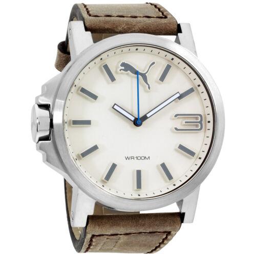 Puma-Ultrasize-White-Dial-Leather-Strap-Men-s-Watch-PU103461016