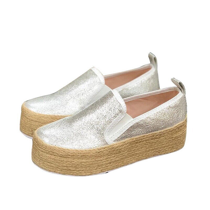 Womens Casual Canvas Slip On Platform Trainers Sneaker Pumps Flats Loafers Shoes 1