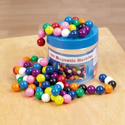 Magnetic Marbles - Tub of 100 Plastic Coated Magnets, Science, STEM, Education](Magnetic Marbles)