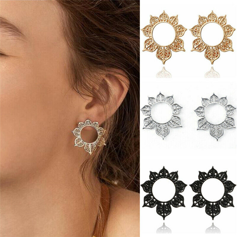 Women Vintage Bohemian Boho Style Ethnic Carved Vine Flower Silver Stud Earrings
