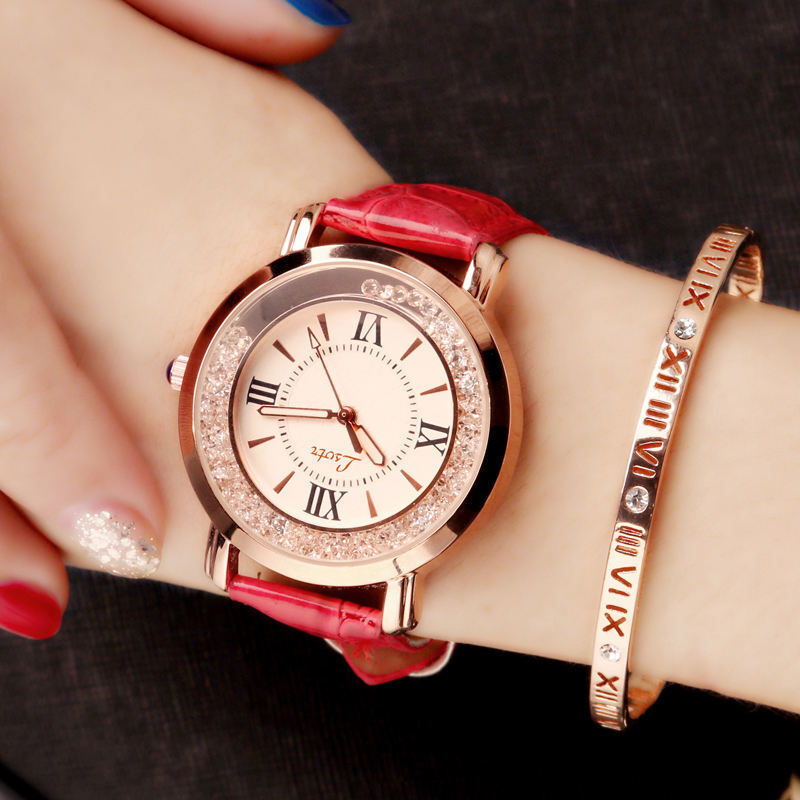 Women Crystal Wristwatch Student Girls Leather Strap Quartz Watch