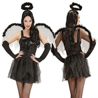 SCHWARZER ENGEL Damen Kostüm mit Heiligenschein Halloween Karneval Gr. S - Heiligen Halloween Kostüm