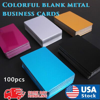 Metal Business Cards Blanks Laser Mark Engraveable Aluminum Alloy 100pcs