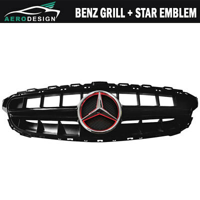 Fits 15-18 Mercedes-Benz C-Class W205 E63S AMG Style Black Grill Red Star Emblem