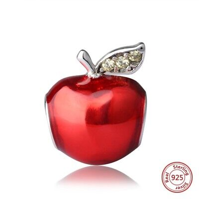 SOLID SILVER SNOW WHITE RED POISON APPLE WICKED QUEEN WALT DISNEY BEAD CHARM GIF