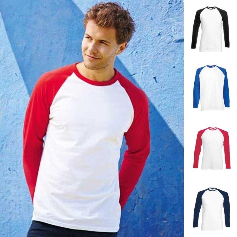 Fruit of the loom Herren Baseball Longsleeve Lang Mann Long Langarm T-Shirt