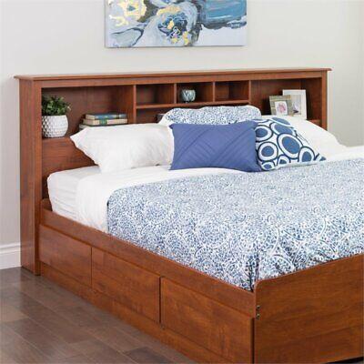 King Size Headboard Wood Shelf Bed Headboards w/ Storage Contemporary Cherry