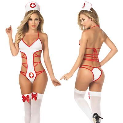 Sexy Damen Krankenschwester Set Dessous weiß rot  Kostüm 2 teiliges