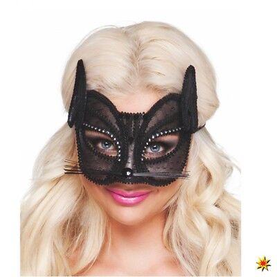 Augenmaske Katze deluxe Maske aus Spitze schwarz Fasching - Spitze Katze Maske