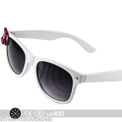 Womens White Kitty Sunglasses Purple Bow Ribbon Nerd Retro Fashion Cute S186