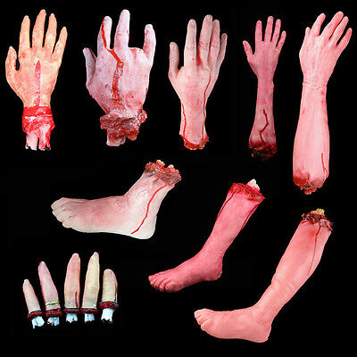 Bloody Hands (Creative Terror Bloody Fake Body Hands Parts Severed Arm Hand Halloween Prop)