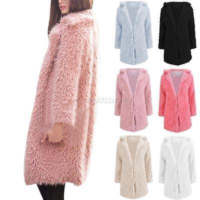 Winter Coat Women Tall Long Jacket Faux Fur Warm Parka Outwear Lady Overcoat Us
