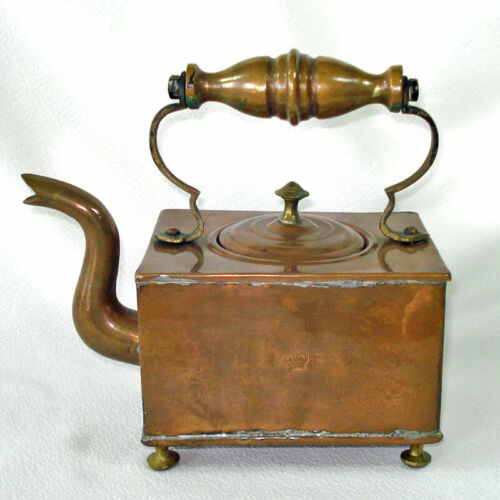 Victorian 1800s Square Copper Tea Kettle English VR Crown Mark