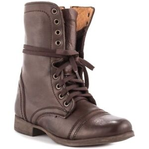 Ladies Brown Leather Combat Style Laced Boots 8M
