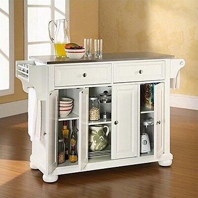 Crosley Furniture Alexandria Stainless Steel Top Kitchen Island, White