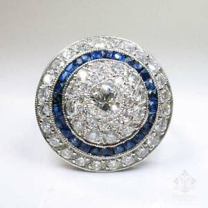 ANTIQUE-ART-DECO-PLATINUM-DIAMOND-SAPPHIRE-RING