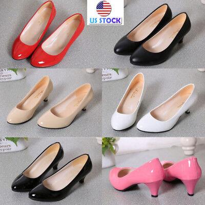 Women Low Mid Kitten Heel Pumps Pointed Toe Work Court Shoes Work Office Size US