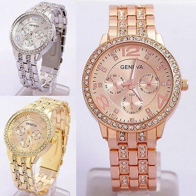 GENEVA Damenuhr mit Strass Quarzuhr Edelstahl Armbanduhr Gold Silber Rosa NEU