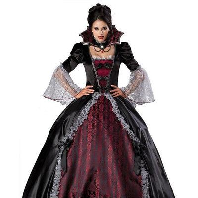 Halloween Cosplay Gothic Vintage Womens Queen Vampire Costume Dress Bust 34