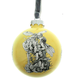 Brand new Flower Fairies glass Gorse fairy yellow bauble