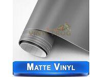 Matt Satin Grey, Vinyl Car Wrap all sizes multi purpose use