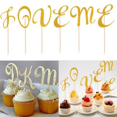 A-Z Letter Cake Topper Cupcakes flags Bridal Shower Glitter Shiny Paper flags