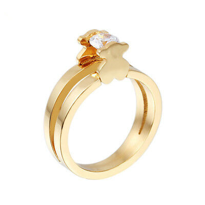 14k Bear Ring (Cute Crystal Bear Ring 14k Gold Woman Jewelry Ring Engagement Ring )