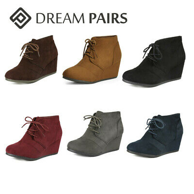 women ankle boots low wedge heel ladies