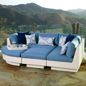 Retail $4,300+ Costco Outdoor Patio 4pc Sectional Daybed, Blue