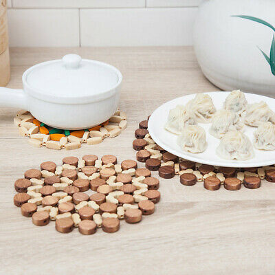2Pcs Placemat Bamboo Round Wooden Table Place Mats Coasters Kitchen Craft USA