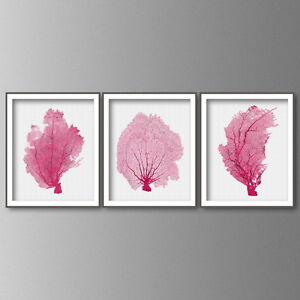 Sea coral print wall art in hot pink set of 3 coral art prints beach