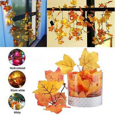 10 LED Fall Leaves String Light Lamp Autumn Leaf Garland Battery Operated Decor - Fall Leaves Decorations