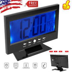 Smart Alarm Clock Table Digital Snooze Backlight LED Time Temperature Calendar