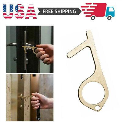 Anti Germ Key Solid Copper Hand Tool Clean Contactless Key Door Opener & Closer Home & Garden