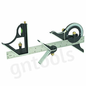 12-COMBINATION-SQUARE-WITH-ANGLE-FINDER-AND-PROTRACTOR-LEVEL-ENGINEERS-BUILDERS