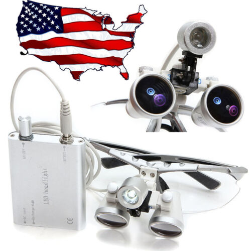 Sliver Surgical Binocular Loupes 3.5X420mm Optical Glass Silver+ LED Head Light